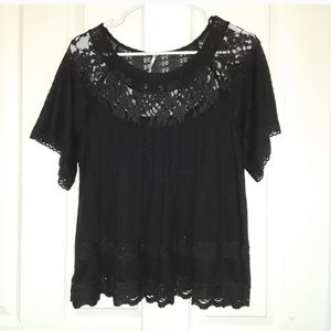 Free People Black Lace Blouse Top size small